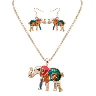 Femme Cuir Mignon Eléphant Ensemble de bijoux Boucles d'oreille / Colliers décoratif - Travail / Mode / Européen Animal Argent / Doré Set