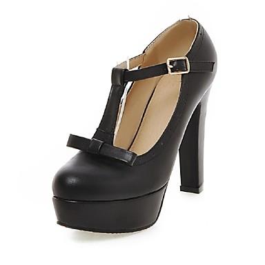 Femme Chaussures Similicuir Printemps Eté Automne Hiver Talon Bottier Plateau Noeud Pour Habillé Soirée & Evénement Noir Beige Rose
