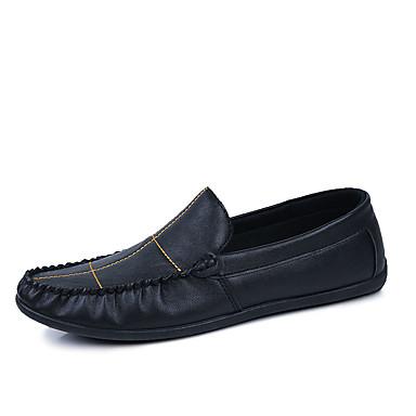 Herrn Schuhe PU Sommer Komfort Loafers & Slip-Ons Flacher Absatz für Normal Weiß Schwarz Braun