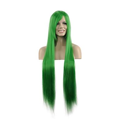Kvinder Syntetiske parykker Lokkløs Lang Rett Grønn costume Parykker