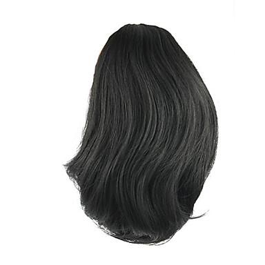 Länge Perücke schwarze kurze Pferdeschwanz 25cm synthetische gerade Hochtemperatur-Draht Farbe 2