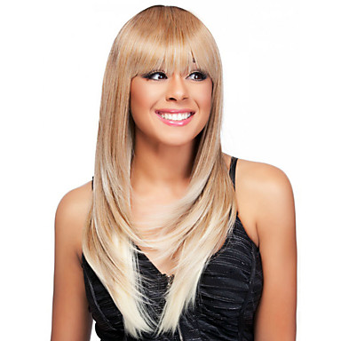 Synthetische Haare Perücken Glatt Natürlicher Haaransatz Dunkler Haaransatz Gefärbte Haarspitzen (Ombré Hair) Kappenlos Medium Blond