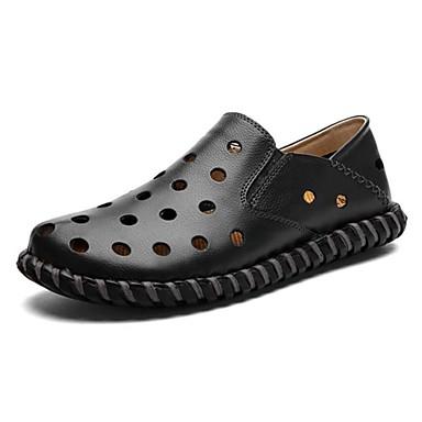 Hombre Zapatos Cuero de Napa Primavera / Verano / Otoño Confort / Zapatos para patines Tacón Plano Negro / Marrón / Boda / Fiesta y Noche