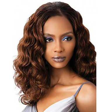 Synthetische Perücken Wogende Wellen Synthetische Haare Braun Perücke Damen Kappenlos