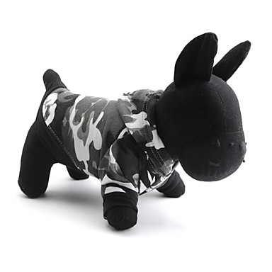 Gatos / Cães Camiseta / Camisola com Capuz Cinzento Roupas para Cães Primavera/Outono camuflagem Da Moda