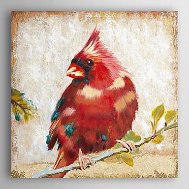 óleo pintados à mão animais pintura cardinal vermelho com quadro esticado