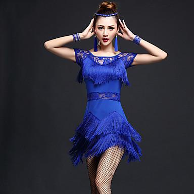 Latein-Tanz Kleider Damen Leistung Nylon Chinlon Spitze Quaste Kurze Ärmel Hoch Kleid