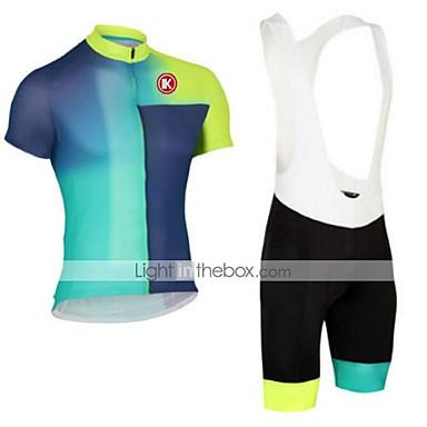 KEIYUEM Maillot et Cuissard à Bretelles de Cyclisme Unisexe Manches Courtes Vélo Ensemble de Vêtements Séchage rapide Résistant à la