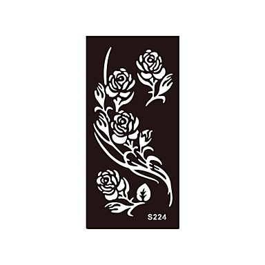 1pc Noir Art Corporel Au Henne Mehndi Pochoir Fleur Rose Tatouage