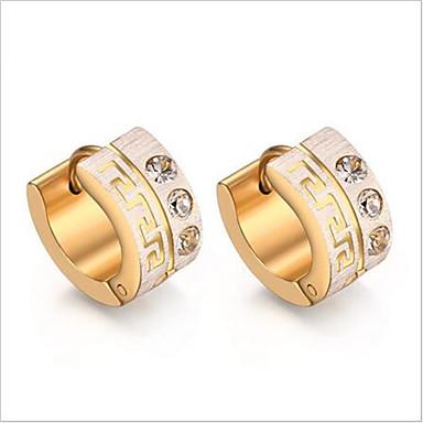 Mulheres Brincos em Argola - Aço Titânio, Imitações de Diamante Estilo simples, Fashion Dourado Para Festa / Diário / Casual