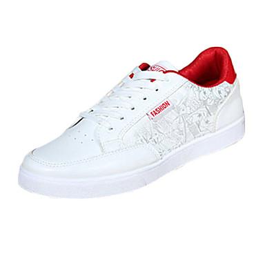 Heren Platte schoenen Comfortabel Kunstleer Lente Herfst Causaal Comfortabel Veters Platte hak Zwart Rood Blauw Onder 2,5cm