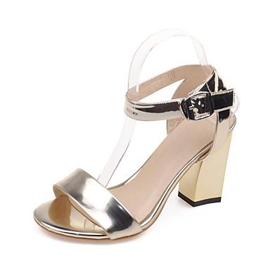 Damen Schuhe Kunstleder Frühling Sommer Herbst Fersenriemen Knöchelriemen Blockabsatz Mit Für Normal Kleid Silber Grau Golden