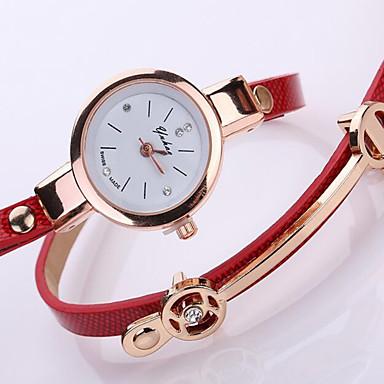 Damen Modeuhr Armband-Uhr PU Band Glanz Bettelarmband Elegante Schwarz Weiß Blau Rot Braun Grün Beige