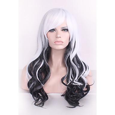 Pelucas sintéticas Rizado / Ondulado Medio Corte asimétrico Pelo sintético Entradas Naturales Blanco Peluca Mujer Larga Sin Tapa