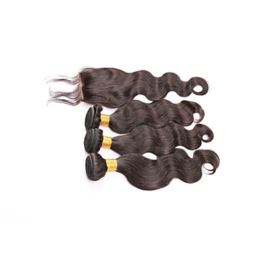 Hair Vetülék, zárral Brazil haj Hullámos haj 6 hónap 4 darab haj sző