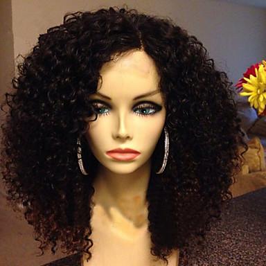 Emberi haj Csipke Paróka Göndör afro 150% Sűrűség 100% kézi csomózású Afro-amerikai paróka Természetes hajszálvonal Közepes Női Emberi
