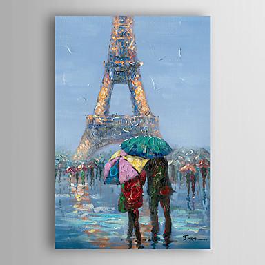 אנשי נוף ציור שמן שצויר ביד הליכה מתחת למגדל אייפל עם מסגרת מתוח arts® קיר 7