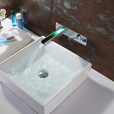 Moderne Vægmonteret Foss LED Keramisk Ventil To Huller Enkelt håndtak To Huller Krom, Baderom Sink Tappekran
