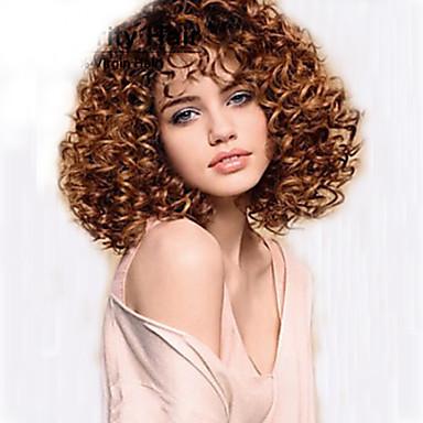 Synthetische Perücken Locken Synthetische Haare Afro-amerikanische Perücke Braun Perücke Damen Mittlerer Länge Kappenlos Braun