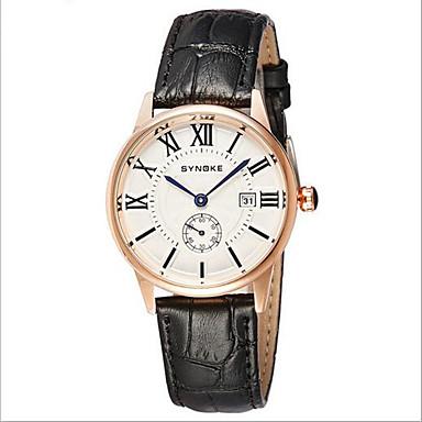 Herren Armbanduhr Quartz Japanischer Quartz Kalender Armbanduhren für den Alltag Leder Band Schwarz Braun Marke SYNOKE