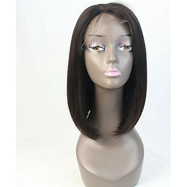 Cabelo Humano Frente de Malha Peruca Liso 130% / 150% Densidade Riscas Naturais / Peruca Afro Americanas / 100% Feita a Mão Médio Mulheres