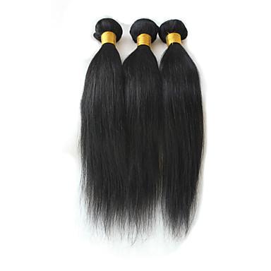 3 pakker Brasiliansk hår Rett Ubehandlet hår Menneskehår Vevet Hårvever med menneskehår Hairextensions med menneskehår Dame