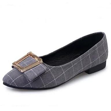 kvinners sko stoff smårutete komfort / spisse tå leiligheter kontor&karriere / uformell lav hæl svart / grå