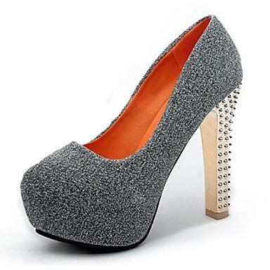 Damen-High Heels-Lässig-Vlies-Stöckelabsatz-Absätze-Schwarz / Blau / Grau