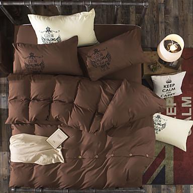 Bettbezug-Sets Solide 4 Stück Polyester Reaktivdruck Polyester 4-teilig (1 Bettbezug, 1 Bettlaken, 2 Kissenbezüge)