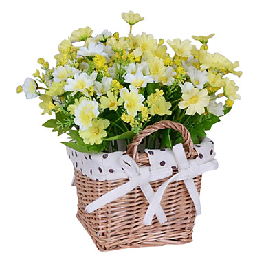1 Gren Silke Kurvplante kurv av blomster Kunstige blomster