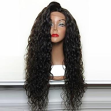 Synthetische Lace Front Perücken Locken Synthetische Haare Natürlicher Haaransatz / Seitenteil / Afro-amerikanische Perücke Schwarz Perücke Damen Lang Spitzenfront