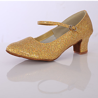 Mujer Zapatos de Baile Latino Brillantina / Satén Tacones Alto Purpurina Tacón Cuadrado Personalizables Zapatos de baile Plata / Dorado