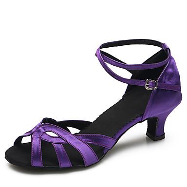 Mulheres Sapatos de Dança Latina / Sapatos de Dança Moderna Cetim Salto Presilha Salto Agulha Personalizável Sapatos de Dança Roxo / Interior / Ensaio / Prática