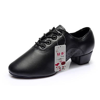Men's Latin Shoes / Practice Shoes Leatherette Heel Lace-up Chunky Heel Non Customizable Dance Shoes / Performance