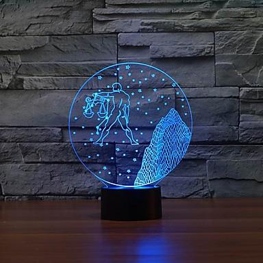 Libra mønster 3D LED natt pulten bordlampe farge endring Nattlys