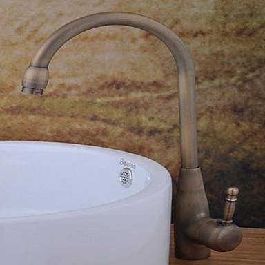 Moderne Mittellage drehbar Keramisches Ventil Ein Loch Einhand Ein Loch Antikes Kupfer, Waschbecken Wasserhahn