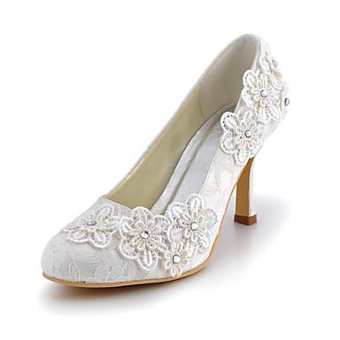 Femme Chaussures Soie Printemps Eté Talon Aiguille Fleur pour Mariage Habillé Soirée & Evénement Blanc