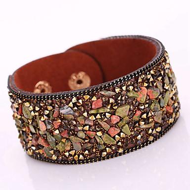 Femme Bracelets / Bracelets en cuir - Cuir, Strass Bohème, Mode Bracelet Rouge / Brun claire / Brun Foncé Pour Regalos de Navidad / Soirée / Quotidien