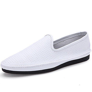Heren Schoenen Synthetisch Lente Herfst Comfortabel Loafers & Slip-Ons Wandelen Stalen neus voor Causaal Toimisto & ura ulko- Wit Zwart