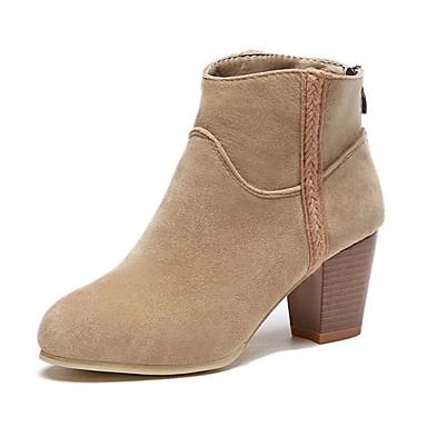 Dames Laarzen Fleece Winter Causaal Blokhak Zwart Rood Khaki 5 - 7 cm