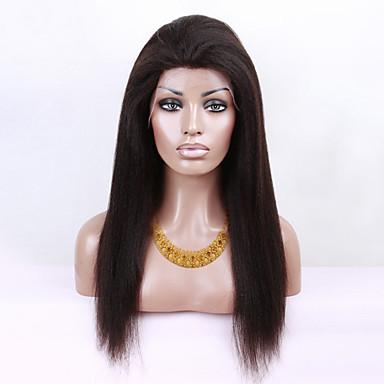 Femme Perruque Naturelle Dentelle Cheveux humains Full Lace 150% Densité Droite Droit crépu Perruque Noir de jais Noir Marron foncé Brun