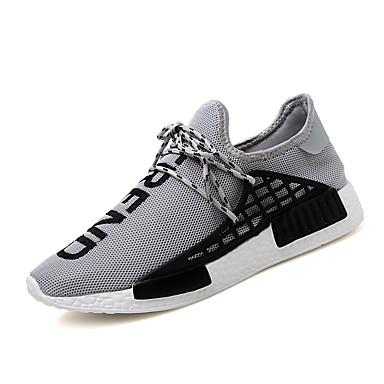 Masculino-Tênis-Conforto-Rasteiro-Preto Azul Cinza-Tule Tecido-Ar-Livre Casual Para Esporte