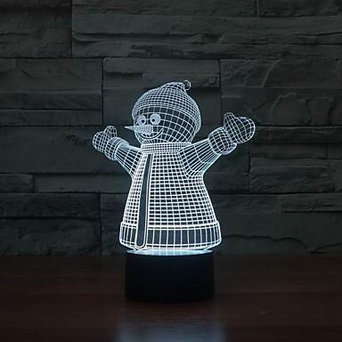 USB Power 3D-Modell Lampe mit Schneemann Form für Raumdekoration Farbe wechselnden Nachtlicht