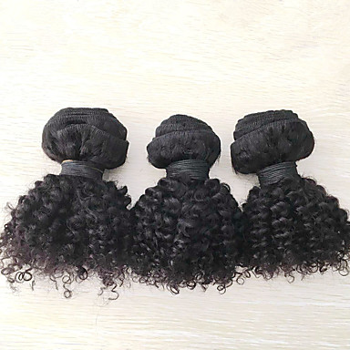 人間の髪編む モンゴリアンヘア Kinky Curly 6ヶ月 3個 ヘア織り