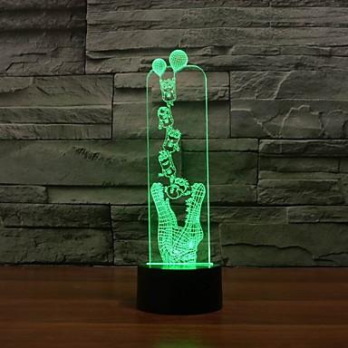 interessante Hai Form 3D-Effekt Nachtlicht 7 Farben veränderbar Farbwechsel-Nachtlicht