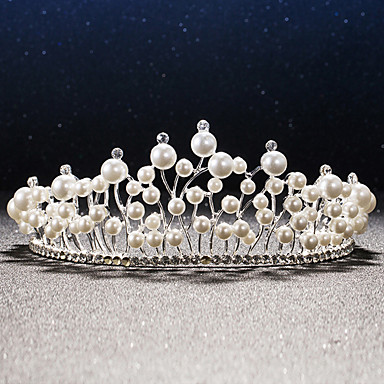 Damen Strass Legierung Künstliche Perle Kopfschmuck-Hochzeit Besondere Anlässe Tiara 1 Stück