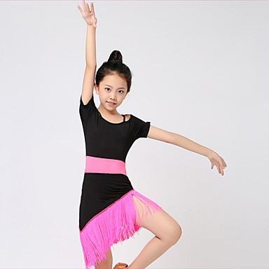 Danse latine Tenue Utilisation Polyester Fibre de Lait Gland Manches courtes Taille moyenne Robe