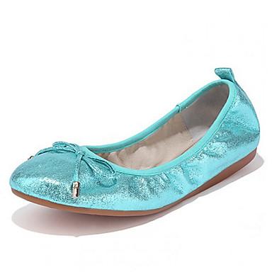 נשים נעליים דמוי עור אביב סתיו בלרינה שטוחות שטוח פפיון עבור קזו'אל כסף כחול מוזהב
