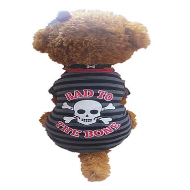 Hund T-shirt Hundekleidung Streifen / Totenkopf Motiv Grau / Rot Baumwolle Kostüm Für Haustiere Sommer