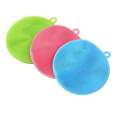 de limpeza suave utensílios de cozinha escova antibacteriano para lavar a louça silicone esponja de limpeza (cor aleatória)